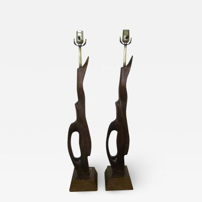 Heifetz Pair of Abstract Sculptural Walnut Lamps Mid century Danish Modern