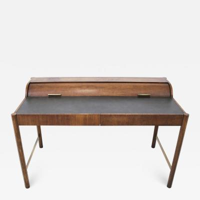Hekman Furniture Company Hekman Walnut and Brass Roll Top Writing Desk