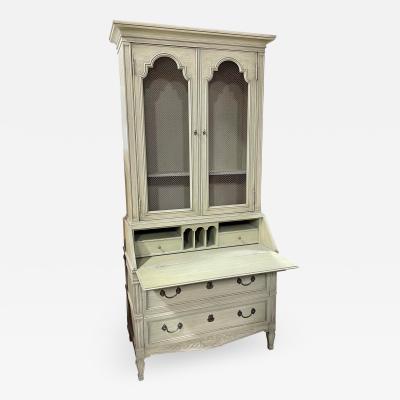 Henredon Furniture Custom Folio Paint Decorated French Country Secretary Desk Mesh Front Bookcase