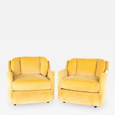 Henredon Furniture Henredon Folio 500 Mid Century Barrel Lounge Chairs Pair