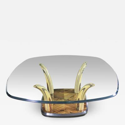 Henredon Furniture Henredon zebra wood faux tusk coffee or cocktail table with glass top