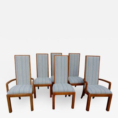 Henredon Furniture Six High Back Dining Room Chairs in the School of Frank Lloyd Wright