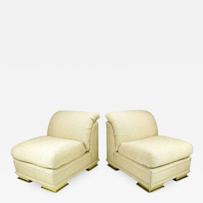 Henredon Pair of Henredon Deco Revival Slipper Chairs in Taupe Silk and Brass