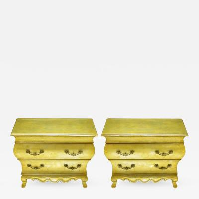 Henredon Pair of Henredon Gold Toned Silver Leaf Bombe Two Drawer Commodes