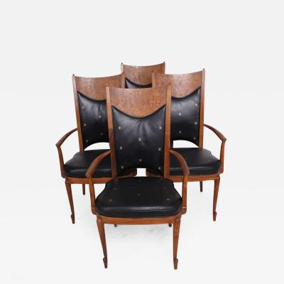 Heritage Furniture Mid Century Set of Four Dining Chairs Walnut Leather Attributed to Heritage