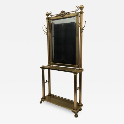 Heritage Furniture Neoclassical Brass Hall Tree Coat Rack Mirror and Table