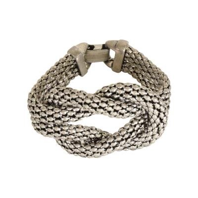 Herm s Art Deco Period Sculptural Aluminum Braided Bracelet