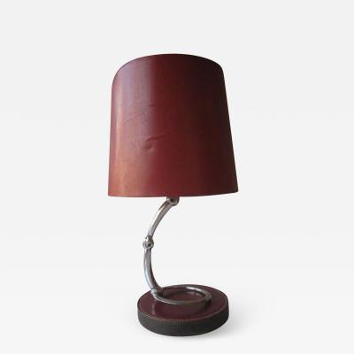 Herm s French Mid Century Modern Neoclassical Leather Desk or Table Lamp by Herm s
