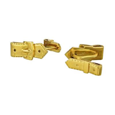 Herm s HERMES 18K YELLOW GOLD BELT BUCKLE CUFF LINKS