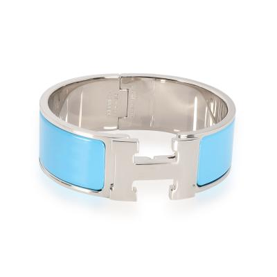 Herm s Herm s Blue Enamel Clic Clac H Bangle