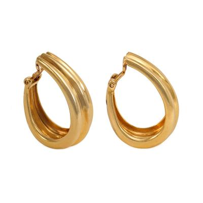 Herm s Herm s Estate Gold Tapered Hoop Earrings