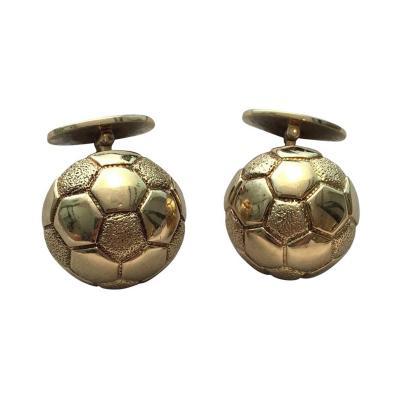 Herm s Hermes Paris Gold Soccer Ball Cufflinks