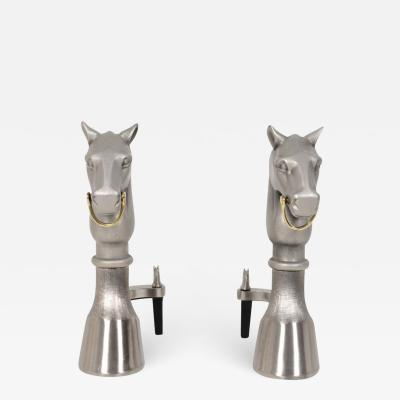 Herm s Hermes Style Equestrian Andirons