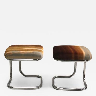 Herm s Pair of French Bauhaus Style Stools with Upholstered Seats by Herm s