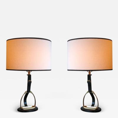 Herm s Pair of Mid Century Modern Neoclassical Leather Stirrup Table Lamps by Herm s