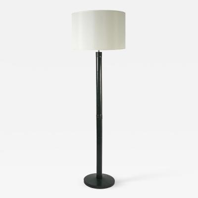 Herm s Rare Stitched Leather Floor Lamp in the Style of Hermes Paris