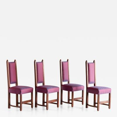 Herm s Set of Four Amsterdam School Dining Chairs Newly Upholstered in Herm s Fabric