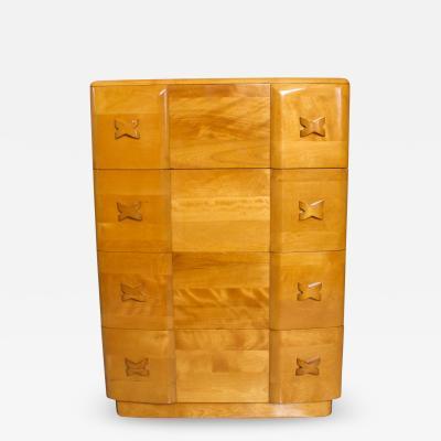 Heywood Wakefield 1940s Art Deco Heywood Wakefield RIO Highboy Dresser Blonde Maple by Leo Jiranek