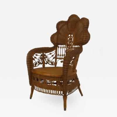 Heywood Wakefield 19th c Heywood Brothers Fanned Back Wicker Armchair