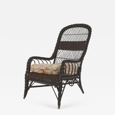 Heywood Wakefield American Mission Dark Stained Natural Wicker Arm Chair