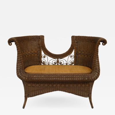 Heywood Wakefield American Victorian Natural Wicker 2 Person Loveseat