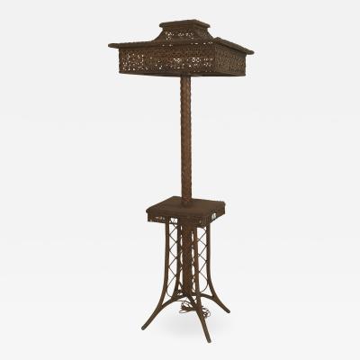 Heywood Wakefield American Victorian Natural Wicker Floor Lamp
