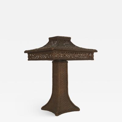 Heywood Wakefield American Victorian Natural Wicker Large Table Lamp