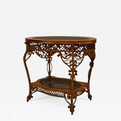 Heywood Wakefield American Victorian Natural Wicker Oval Center Table