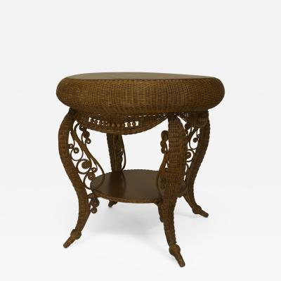 Heywood Wakefield American Victorian Natural Wicker Round Oak Top Table