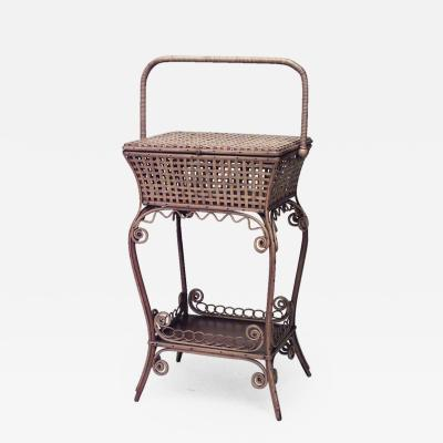 Heywood Wakefield American Victorian Natural Wicker Sewing Table
