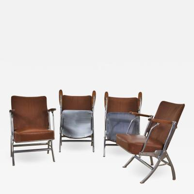 Heywood Wakefield Art deco streamline bauhaus chrome frieze vinyl folding auditorium chairs