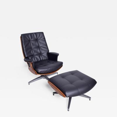 Heywood Wakefield Heywood Wakefield Teak Faux Leather Lounge Chair Ottoman 710D Danish Modern