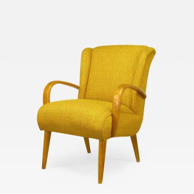 Heywood Wakefield Maple Wood and Saffron Upholstered Lounge Chair circa 1940s