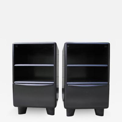 Heywood Wakefield Mid Century Modern Organic Black Heywood Wakefield Nightstands with Drawer