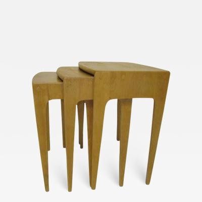 Heywood Wakefield Rare Set of Heywood Wakefield Solid Maple Mid Century Modern Nesting Tables