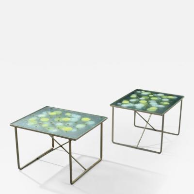 Higgins Glass Studio Pair of Michael Frances Higgins Occasional Tables