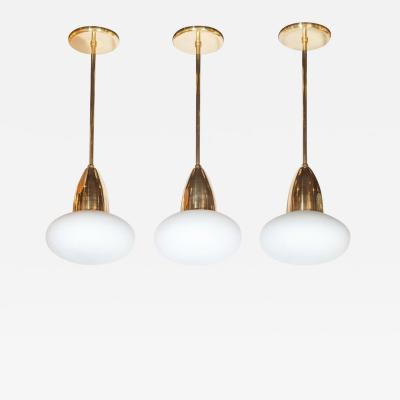 High Style Deco Set of Three Custom Modernist Brass Frosted Glass Pendants by High Style Deco