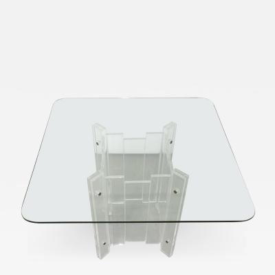 Hill Manufacturing Mid Century Modern Lucite and Glass Dining Center Game Table by Hill Mfg
