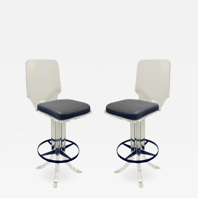 Hill Manufacturing Pair of Sculptural Lucite Swivel Stools 1970s