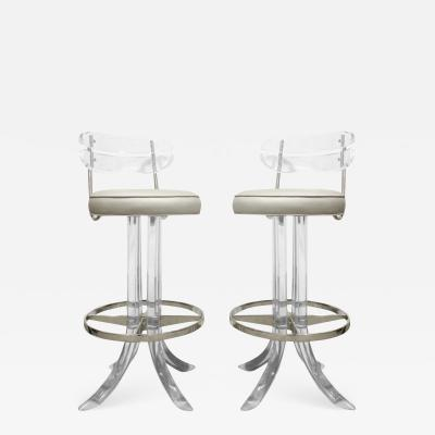 Hill Manufacturing Pair of Sculptural Swivel Bar Stools in Lucite 1970s