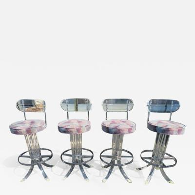 Hill Manufacturing Scrumptious Set 4 Hollywood Regency Swivel Lucite Barstools Hill Manufacturing