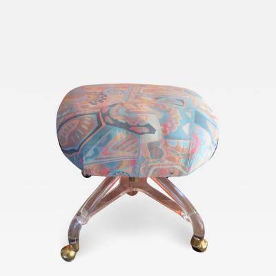 Hill Manufacturing Stunning Lucite Rolling Stool Ottoman Mid Century Modern
