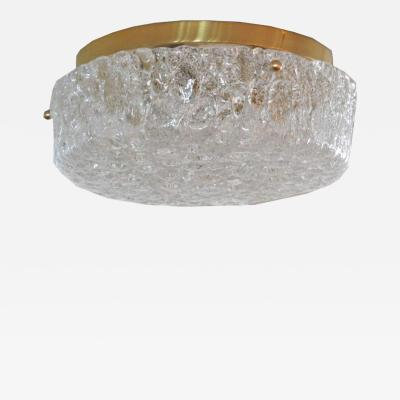 Hillebrand GERMAN GLASS AND BRASS CIRCULAR FLUSH MOUNT