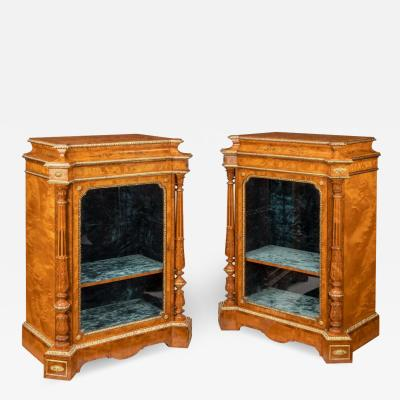 Holland Sons A pair of Victorian satinwood display cabinets attributed to Holland and Sons