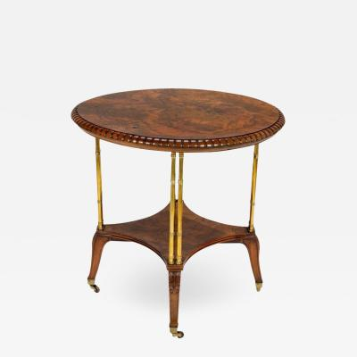 Holland Sons Victorian Burl Walnut Table by Holland Sons