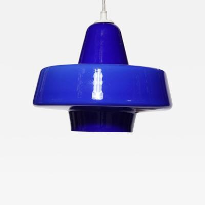 Holmegaard Holmegaard Royal Blue Cased Glass Hanging Lamp 1950s