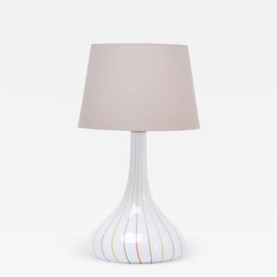 Holmegaard Tall White Glass Table Lamp model Candy by Kylle Svanlund for Holmegaard