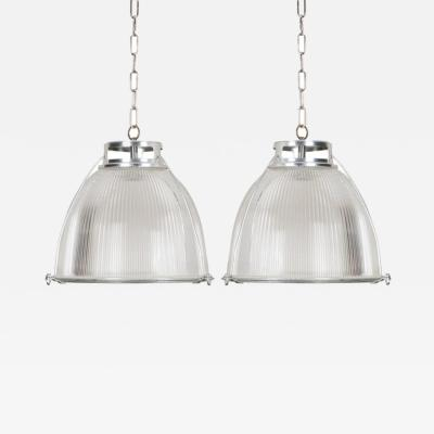 Holophane Pair of English Industrial Factory Pendants