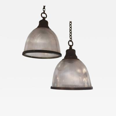 Holophane Pair of Holophane Ribbed Glass and Nickel Pendant Ceiling Light Fixtures