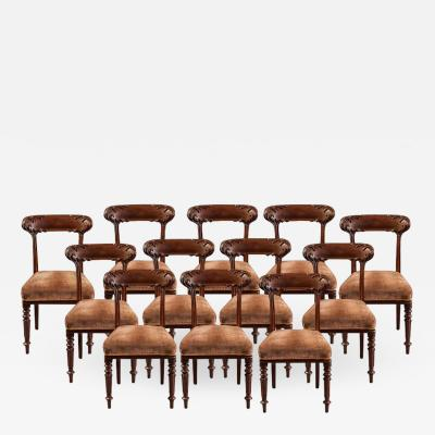 Howard Sons Set of 12 English Mahogany Dining Chairs by Howard Sons